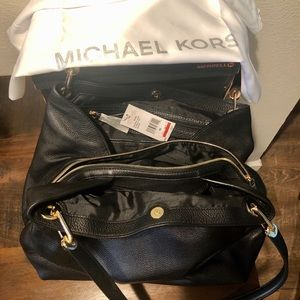 Michael Kors Raven Black Leather Purse - NEW